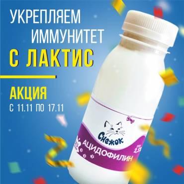 С 11.11.2020 по 17.11.2020 получите в подарок «Ацидофилин «Снежок» 2.5% 200г» к заказу.
